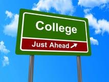 Sinal para a faculdade imagem de stock royalty free