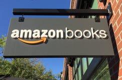 Sinal para a loja de livros das Amazonas em Chicago imagens de stock royalty free