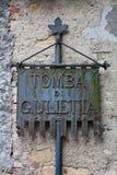 Sinal para o túmulo de Giuliettas Imagem de Stock