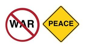 Sinal - pare a guerra, paz adiante ilustração royalty free