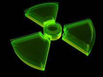 Sinal - perigo radioativo com fluorescência Foto de Stock