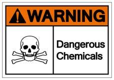 Sinal perigoso de advert?ncia do s?mbolo de produtos qu?micos, ilustra??o do vetor, isolado na etiqueta branca do fundo EPS10 ilustração royalty free