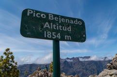 Sinal Pico Bejenado da cimeira no La Palma, Ilhas Canárias, Espanha Fotos de Stock Royalty Free