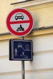 Sinal Praga da zona do pedestre Imagens de Stock