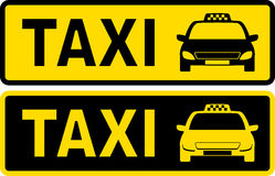 Sinal preto e amarelo do táxi Imagem de Stock