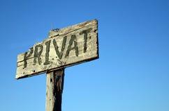 Sinal (privado) de Privat Imagem de Stock Royalty Free