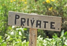 Sinal privado rústico Foto de Stock