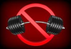 Sinal proibido com barbell ou peso O levantamento do halterofilismo, do GYM e de peso é proibido no fundo vermelho Fotografia de Stock