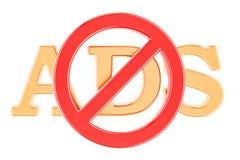 Sinal proibido com texto do ADS, rendição 3D ilustração stock