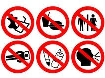 Sinal proibido do espaço público Foto de Stock Royalty Free