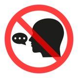 Sinal proibido falar Proiba a disseminação da informação, bisbolhetice censura ilustração stock