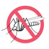Sinal proibido mosquito Para o saneamento e o cuidado relacionados informativos e institucionais Imagens de Stock