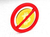 Sinal proibitivo com um bitcoin para dentro em um assoalho aleatório da letra Fotos de Stock Royalty Free