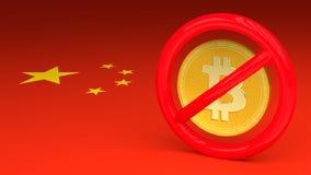 Sinal proibitivo com um bitcoin para dentro em uma bandeira chinesa Ilustração Royalty Free