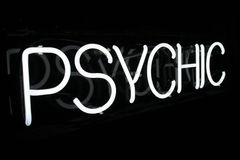 Sinal psíquico de néon branco 1 Imagens de Stock
