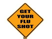 Sinal que lembra todos para começ sua vacina contra a gripe imagem de stock royalty free