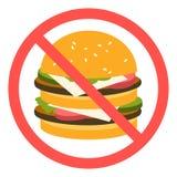 Sinal que proibe o fast food Imagem de Stock Royalty Free