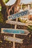 Sinal rústico da fuga do evento do casamento de Tumblr imagem de stock royalty free