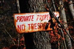 Sinal rústico da propriedade privada Imagens de Stock