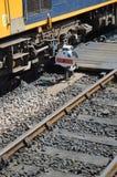 Sinal Railway pelo cruzamento pedestre Foto de Stock