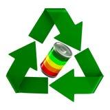 Sinal reciclado e bateria no fundo branco Ilustra??o 3d isolada ilustração royalty free