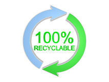 sinal recyclable de 100 por cento. Isolado no branco Imagens de Stock Royalty Free