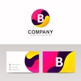 Sinal redondo do logotipo da letra do divertimento B Vetor abstrato do ícone da forma do círculo Fotos de Stock