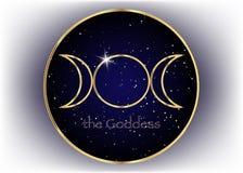 Sinal religioso do ouro Wicca e Neopaganism Deusa tripla, fundo do universo ilustração royalty free
