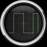 Sinal retangular na tela do osciloscópio em tons verdes Imagem de Stock Royalty Free