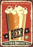 Sinal retro da cerveja ilustração do vetor