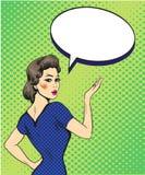 Sinal retro da mão do ponto da mulher do estilo do pop art com bolha do discurso Ilustração cômica do vetor do projeto Foto de Stock