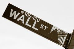 Sinal retro de Wall Street. Imagens de Stock