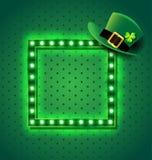 Sinal retro verde com chapéu de St Patrick Fotografia de Stock Royalty Free
