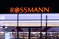 Sinal Rossmann Quadro indicador Rossmann da empresa foto de stock