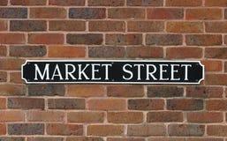 Sinal, rua do mercado Imagens de Stock