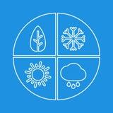 Sinal simples gráfico de quatro estações Isloate liso branco do ícone do vetor ilustração stock
