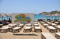 Sinal super da praia do paraíso Fotos de Stock