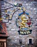 Sinal velho do hotel Fotografia de Stock