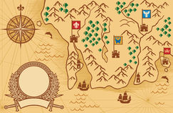 Sinal velho do mapa Fotos de Stock Royalty Free
