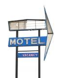 Sinal velho do motel isolado. imagens de stock