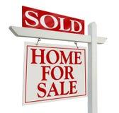 Sinal vendido dos bens imobiliários Imagem de Stock Royalty Free