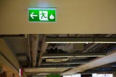 Sinal verde da saída de emergência que mostra a maneira de escapar Imagens de Stock