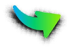 Sinal verde da seta no fundo branco Imagem de Stock