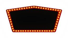 Sinal vermelho da placa da luz do famoso retro no fundo branco rendição 3d imagens de stock royalty free