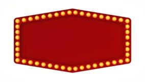 Sinal vermelho da placa da luz do famoso retro no fundo branco rendição 3d imagem de stock
