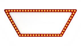 Sinal vermelho da placa da luz do famoso retro no fundo branco rendição 3d fotografia de stock