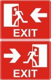 Sinal vermelho da saída Porta da saída de emergência da emergência e porta de saída Sagacidade da etiqueta Foto de Stock Royalty Free