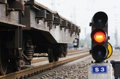 Sinal vermelho do trem foto de stock royalty free