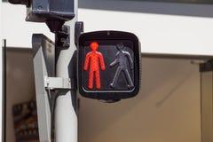 Sinal vermelho, para pedestres na rua Fotos de Stock Royalty Free