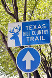 Sinal vertical para Texas Hill Country Trail Fotografia de Stock